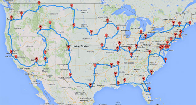 Randy Olson's optimal road trip to U.S. landmarks