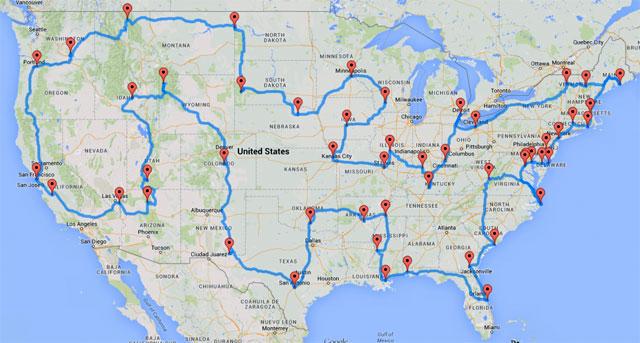 Randy Olson's optimal road trip to U.S. landmarks