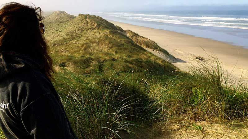 Climbing the sand dunes in Florence, Oregon