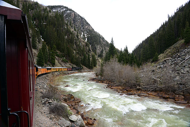 The train followed the bank of the Animas River