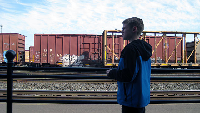 My nephew Noah hanging out at the railyard