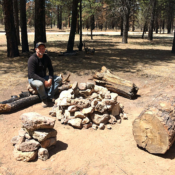 Manly J.D. built a deluxe campfire circle