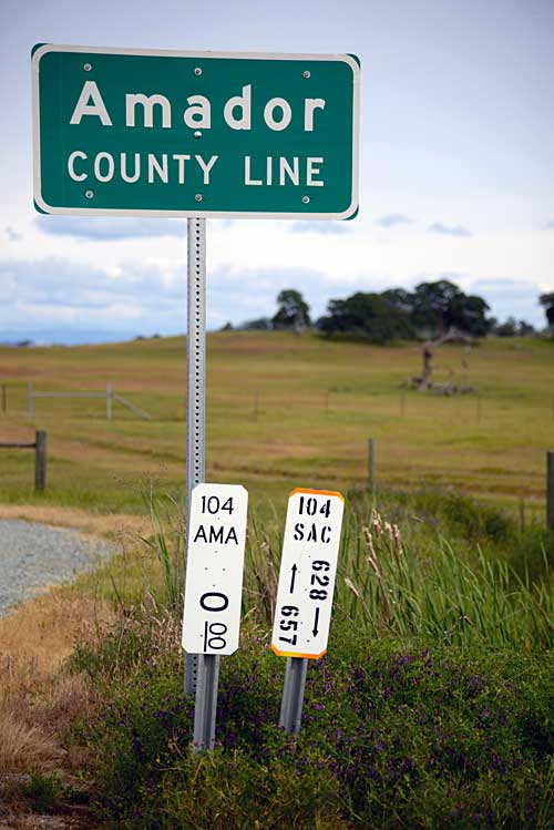 The Amador County line, where the oak trees and foothills begin