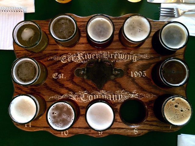 The sampler platter at Eel River Brewing