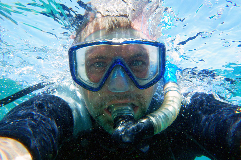 J.D., snorkeling in the Galapagos Islands